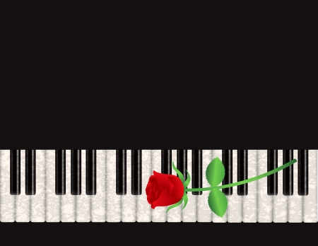 Piano Background with Red Rose Stalk and Textured Keyboard Illustration