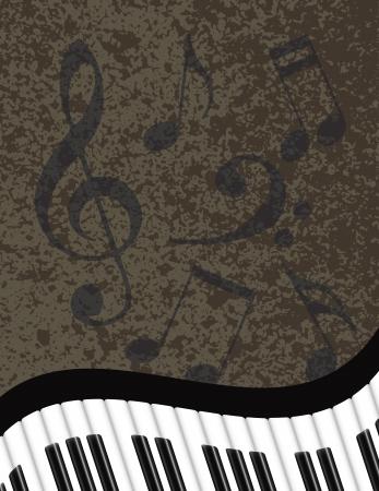 音符で波状の抽象的なピアノの鍵盤テクスチャ背景イラスト