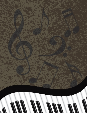 Wavy Abstract Piano Keyboard with Musical Notes Textured Background Illustration