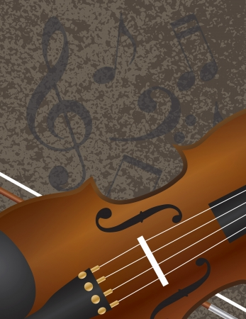Violin and Bow Closeup with Musical Notes Textured Background Illustration Illustration