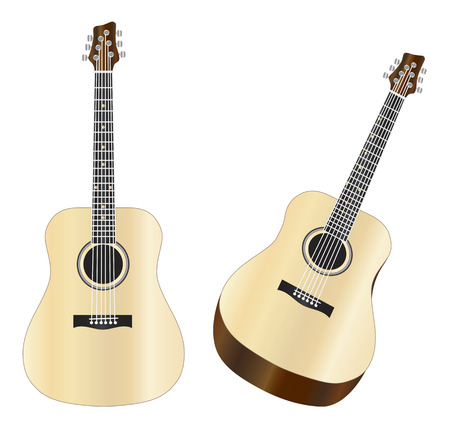 Steel Strings Acoustic Guitars Isolated on White Background Illustration Ilustração