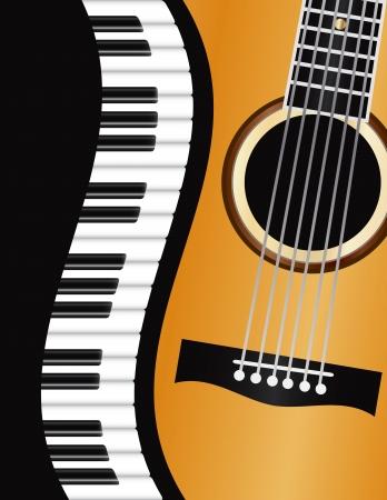country music: Piano Tastiere bordo ondulato con chitarra acustica Primo piano Sfondo Illustrazione Vettoriali