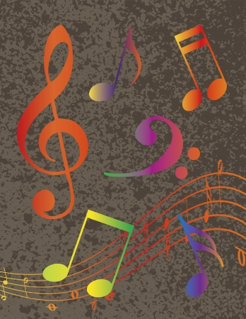 Rainbow Colors Musical Notes with Treble Clef on Grunge Textured Background Illustration Vector
