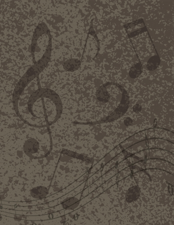 Random Musical Notes with Treble Clef on Grunge Textured Background Illustration Vector