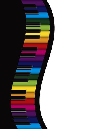 무지개 색상 키 물결 모양의 테두리 추상적 인 배경 일러스트와 피아노 키보드 일러스트