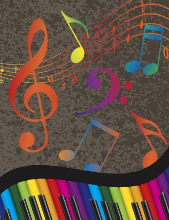 무지개 색 키와 음표 질감 배경 일러스트 레이 션과 물결 모양의 추상 피아노 키보드