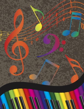 Wavy Abstract Piano Keyboard with Rainbow Colors Keys and Musical Notes Textured Background Illustration