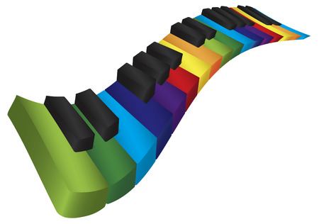 Piano Wavy Keyboard with Rainbow Colors Keys in 3D Isolated on White Background Illustration Vector