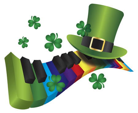St Patricks Day Leprechaun Hat with Rainbow Colors Piano Wavy Keyboard Isolated on White Background Illustration Vector