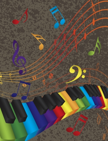 Wavy Abstract Piano 3D Keyboard with Rainbow Colors Keys and Musical Notes Textured Background Illustration  イラスト・ベクター素材