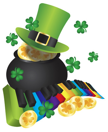St Patricks Day Leprechaun Hat with Rainbow Colors Piano Wavy Keyboard and Pot of Gold Coins Isolated on White Background Illustration Vector