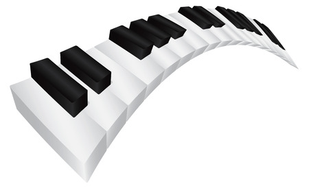 ebony: Piano Keyboard with Black and White Wavy Keys in 3D Isolated on White Background Illustration