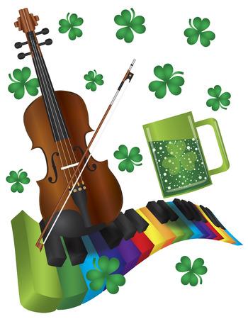 St Patricks Day con Rainbow Colors Piano mossi Tastiera Violino Shamrock e verde birra isolato su sfondo bianco Illustrazione