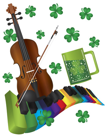St Patricks Day with Rainbow Colors Piano Wavy Keyboard Violin Shamrock and Green Beer Isolated on White Background Illustration Ilustração