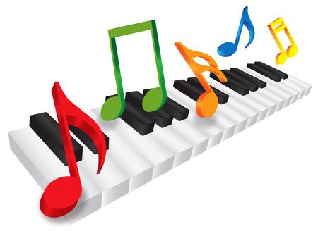 흑백 키 및 흰색 배경 일러스트 레이 션에 고립 된 3D 음악 노트와 피아노 키보드