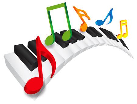teclado de piano: Teclado del piano con blanco y negro Teclas onduladas y coloridas notas de la m�sica en 3D aislado en blanco ilustraci�n de fondo Vectores