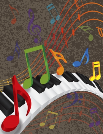 concert grand: Wavy Abstract Piano 3D Keyboard with Rainbow Colors Dancing Music Notes Textured Background Illustration