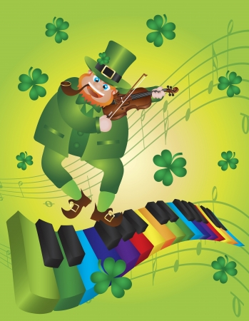 St Patricks Day Leprechaun Playing Violin Dancing on Rainbow Colors Piano Wavy Keyboard Shamrock Background Illustration Vector