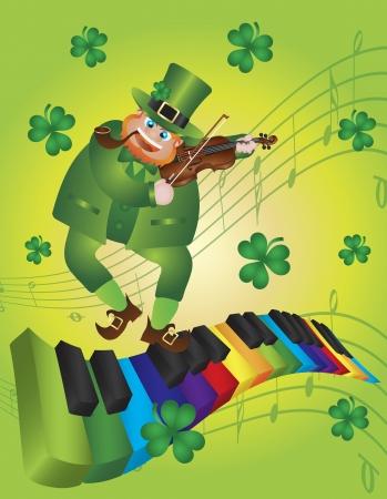 performing arts event: St Patricks Day Leprechaun Playing Violin Dancing on Rainbow Colors Piano Wavy Keyboard Shamrock Background Illustration Illustration
