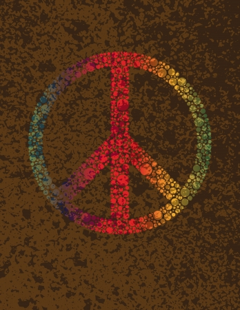 Peace Symbols Signs with Rainbow Colors Polka Dots on Grunge Textured Background Illustration Vector