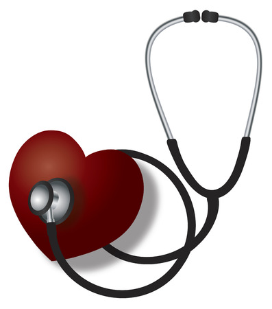 listening to heartbeat: Stethoscope Medical Device Listening to Red Heart Beat on White Background Illustration