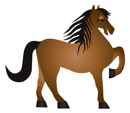 Horse Forward Pose Side View Isolated on White Background Illustration Vector