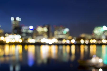 portland oregon: Portland Oregon Downtown Along Willamette River at Blue Hour with Out of Focus City Lights