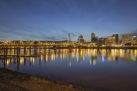 hawthorne: Portland Oregon Downtown Skyline with Hawthorne Bridge Along the Banks of Willamette River at Evening Blue Hour