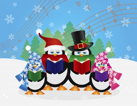 green day baby blue background: Penguins Christmas Carolers with Hats and Scarfs with Winter Snow Scene and Random Music Notes Background Illustration Illustration