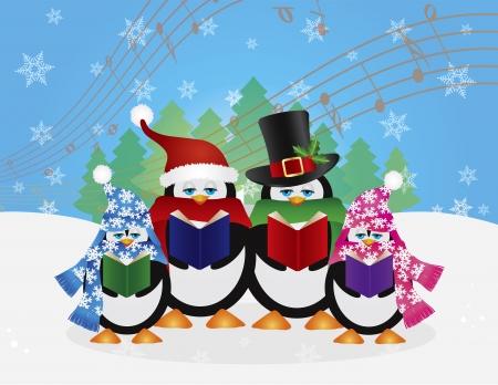 pinguinos navidenos: Pingüinos Carolers Navidad con sombreros y bufandas con escena de la nieve del invierno y la música aleatoria Notas ilustración de fondo