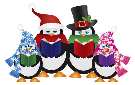 carolers: Penguins Christmas Carolers with Hats and Scarfs Isolated on White Background Illustration