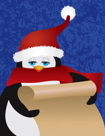 naughty: Penguin with Christmas Santa Claus Red Hat Holding Scroll List on Blue Textured Background Illustration Illustration