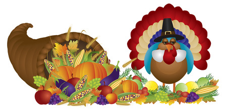 Cornucopia with Bountiful Fall Harvest and Pilgrim Turkey Isolated on White Illustration Vector