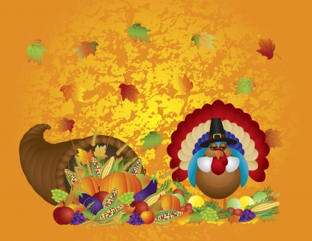 Thanksgiving Day Fall Bountiful Harvest Cornucopia with Turkey Pilgrim Pumpkins Fruits and Vegetables illustration Vector