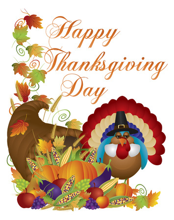 fall harvest: Happy Thanksgiving Day Fall Harvest Cornucopia and Pilgrim Turkey with Pumpkin Eggplant Grapes Corns Apples Leaves and Twine Illustration
