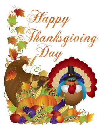 Happy Thanksgiving Day Oogst Cornucopia en Pelgrim Turkije met Pompoen Aubergine Druiven Likdoorns Appels Bladeren en Twijn Illustratie