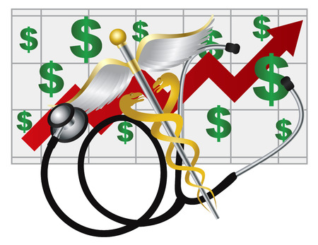 reform: Stethoscope and Rod of Caduceus Medical Symbol with Health Cost Rising Chart on White Background Illustration