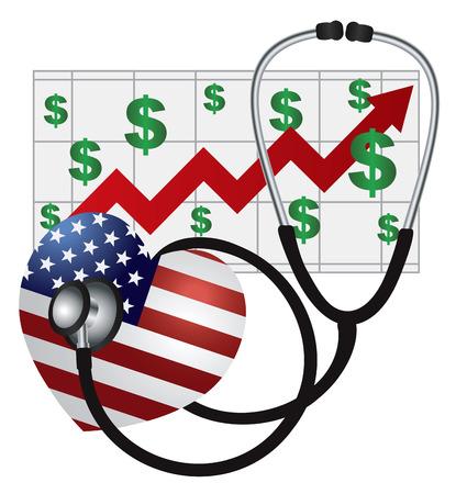democrats: Estetoscopio dispositivos m�dicos Escuchando EE.UU. Flag Heartbeat con Costo Salud Rising gr�fico en fondo blanco Ilustraci�n
