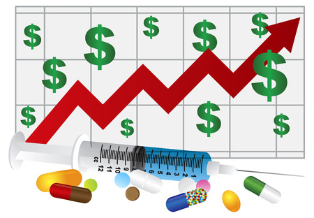 Syringe with Medication Pills and Prescription Drugs Rising Cost Chart Isolated on White Background Illustration Stock Vector - 23848218