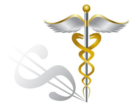 personal medico: S�mbolo m�dico del caduceo de organizaciones de atenci�n sanitaria con la muestra de d�lar Shadow for Healthcare Cost aislado en fondo blanco Ilustraci�n Vectores