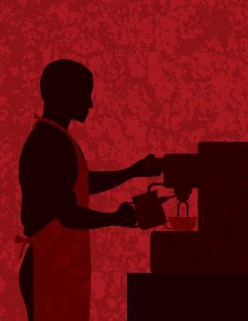 espresso machine: Male Coffee Barista Silhouette Making Espresso and Steaming Milk with Espresso Machine on Red Textured Background Illustration Illustration