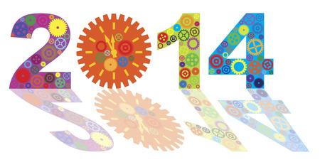 Happy New Year 2014 Colorful Mechanical Gears and Clock with Reflection Isolated on White Illustration