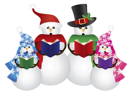 carolers: Snowman Family Christmas Carolers with Hat and Scarf Isolated on White Background Illustration