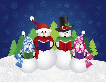 carolers: Snowman Family Christmas Carolers with Hats and Scarf Isolated on Snow Scene Background Illustration