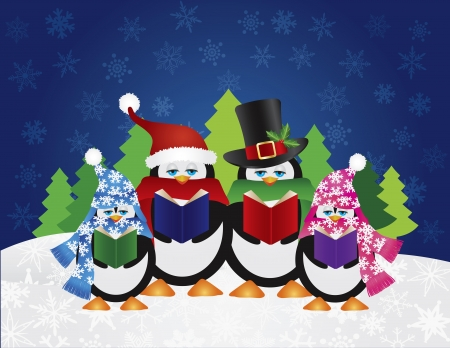carolers: Penguins Christmas Carolers with Hats and Scarfs with Night Winter Snow Scene and Random Music Notes Background Illustration