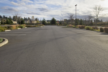 Empty Parking Lot at Business Location