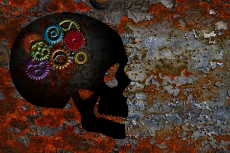 Rusty Colorful Metal Gears on Skull Silhouette Grunge Texture Background photo