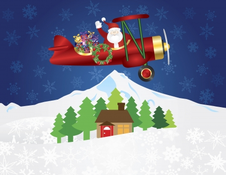 Santa Claus Waving on Biplane Delivering Wrapped Presents Flying Over Winter Snow Scene at Night Background Illustration Vector