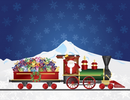Santa Claus Ringing Bell on Train Delivering Wrapped Presents Traveling Over Winter Snow Scene at Night Background Illustration