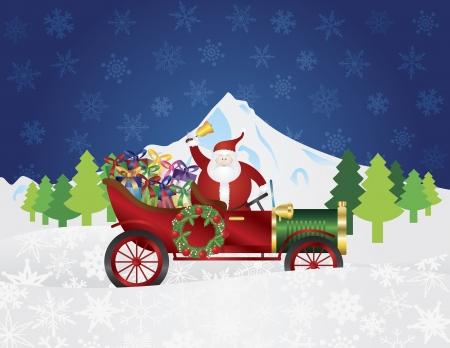 car ornament: Santa Claus Ringing Bell on Vintage Car Delivering Wrapped Presents Traveling Over Winter Snow Scene at Night Background Illustration Illustration